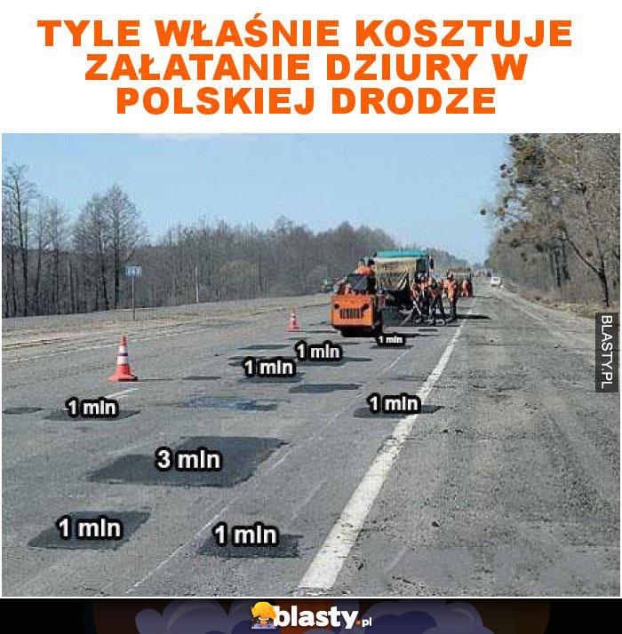 Tyle właśnie kosztuje załatanie dziury w polskiej drodze