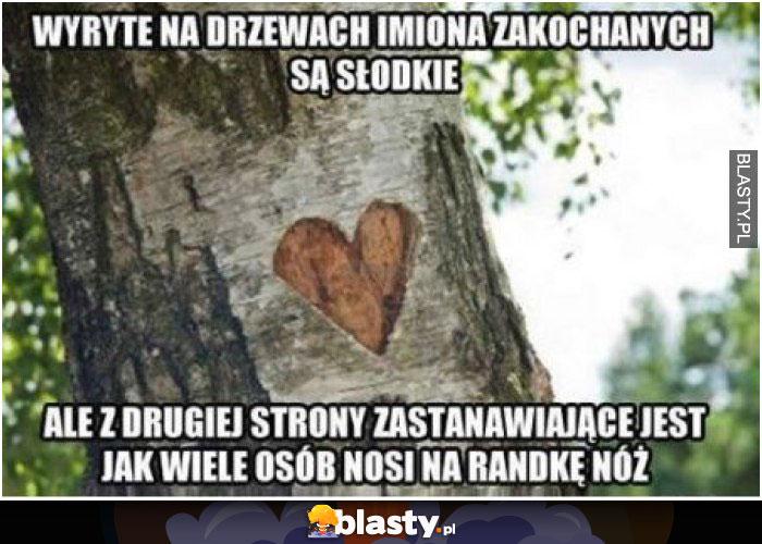 Wyryte na drzewach imiona zakochanych są słodkie