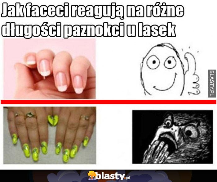 Jak faceci reagują na różne długości paznokci u lasek