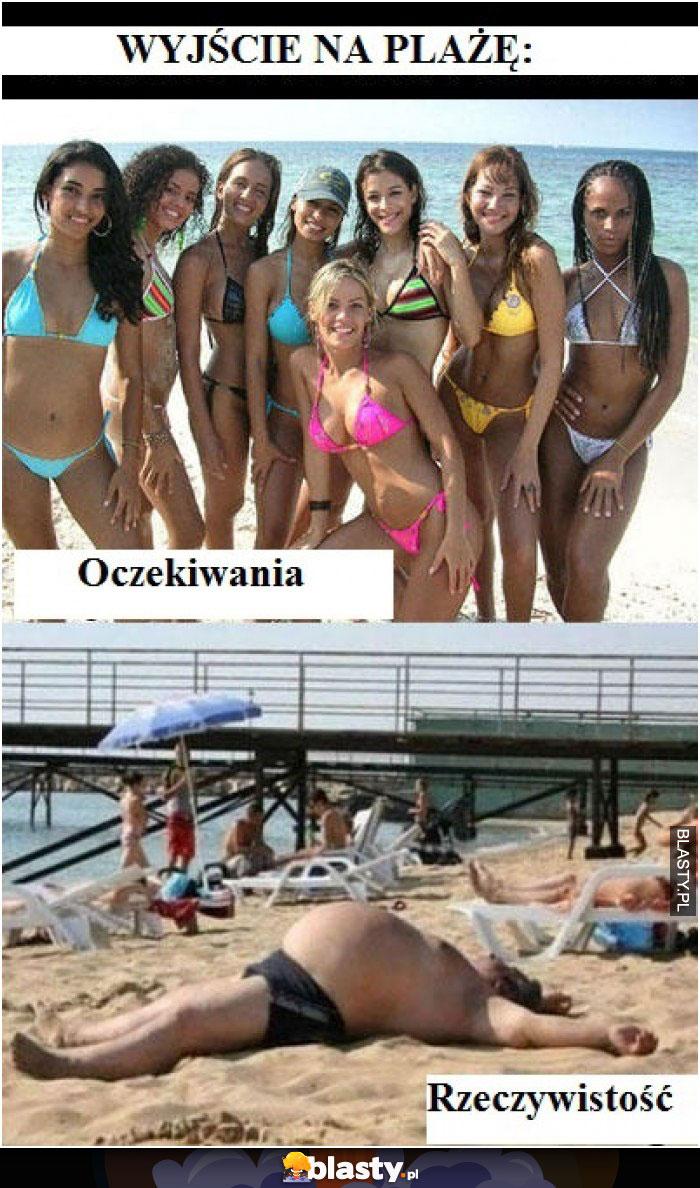 Wyjście na plażę oczekiwania vs rzeczywistość