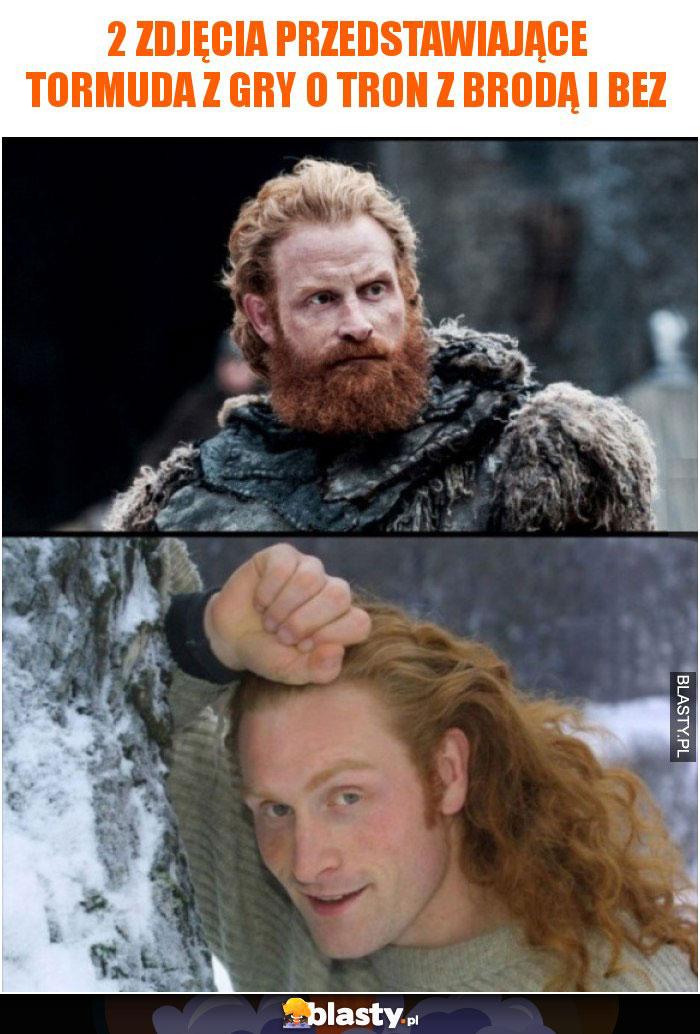 2 zdjęcia przedstawiające Tormuda z Gry o Tron z brodą i bez