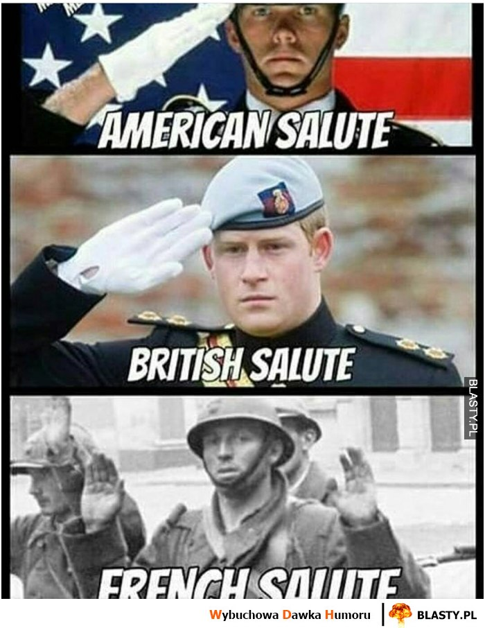 American salute, british salute, french salute