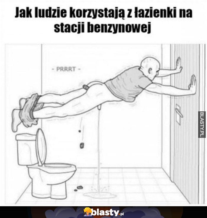Jak ludzie korzystają z łazienki na stacji benzynowej