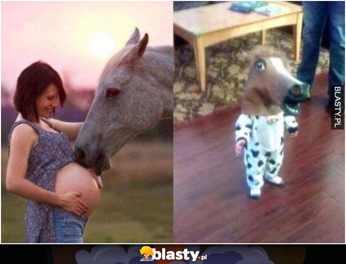Koń liże brzuch kobiety