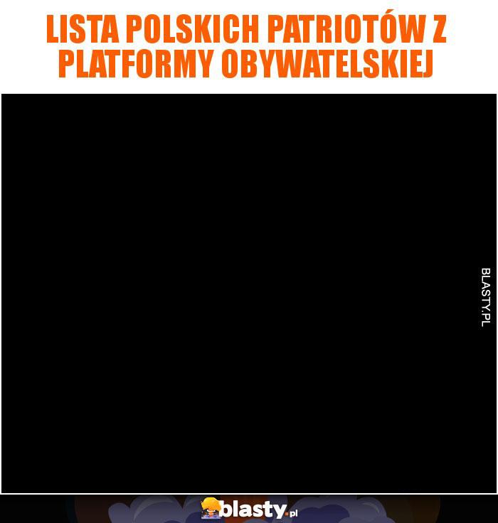 Lista Polskich patriotów z Platformy Obywatelskiej