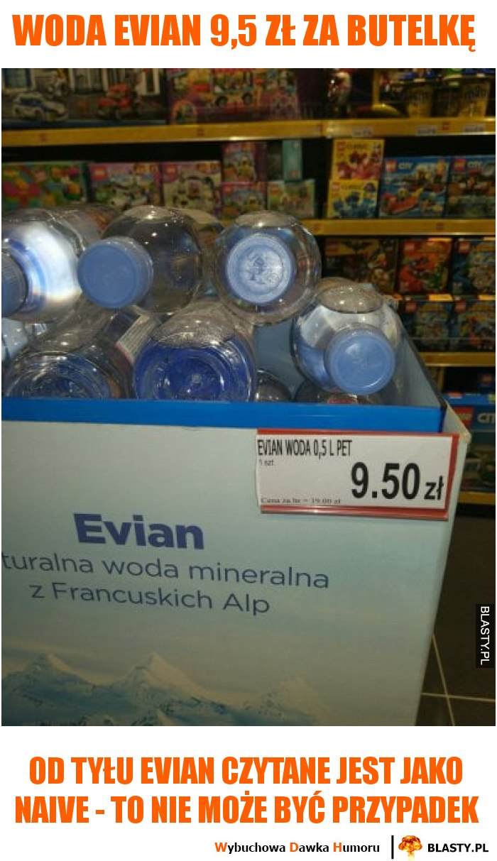 Woda Evian 9,5 zł za butelkę