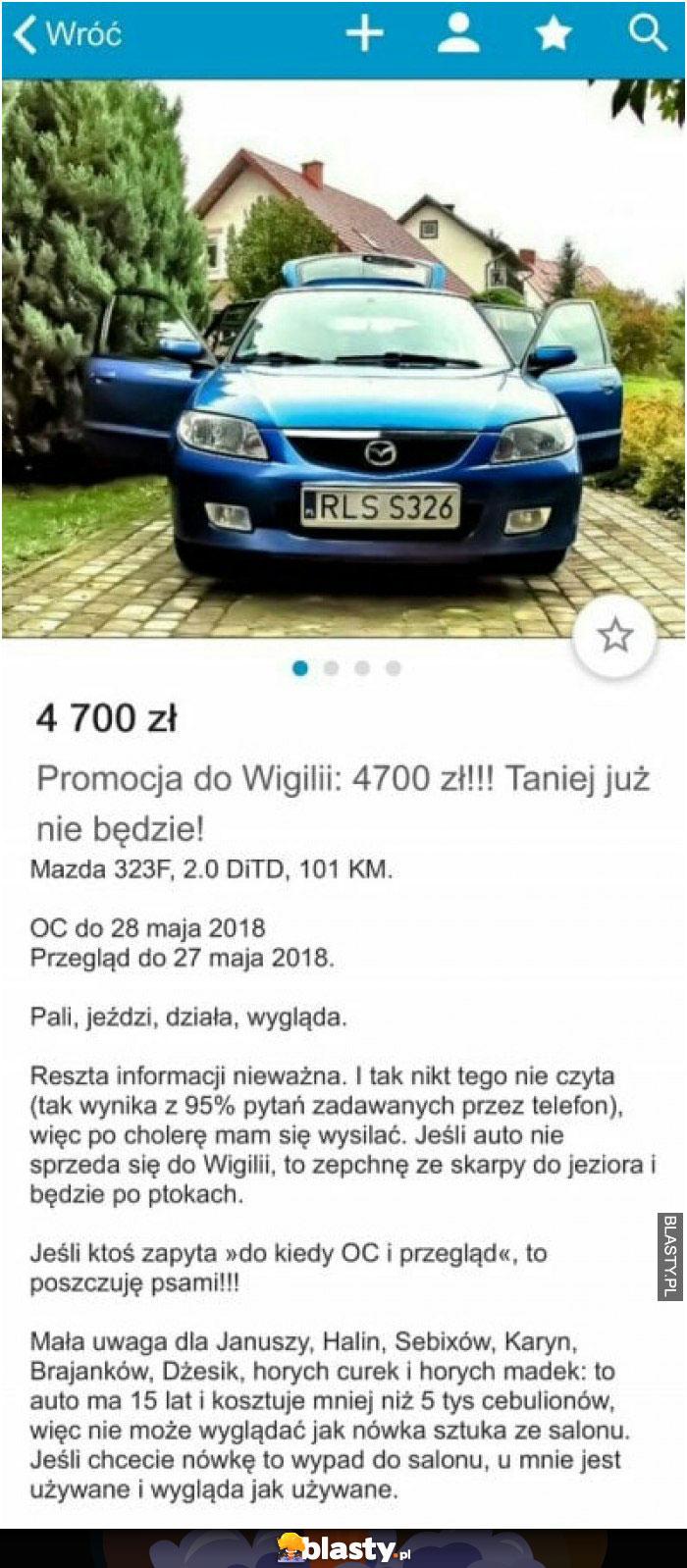 Sprzedaż samochodu olx