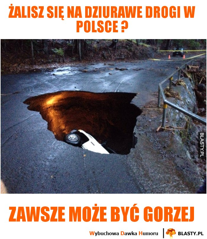 Żalisz się na dziurawe drogi w Polsce ?