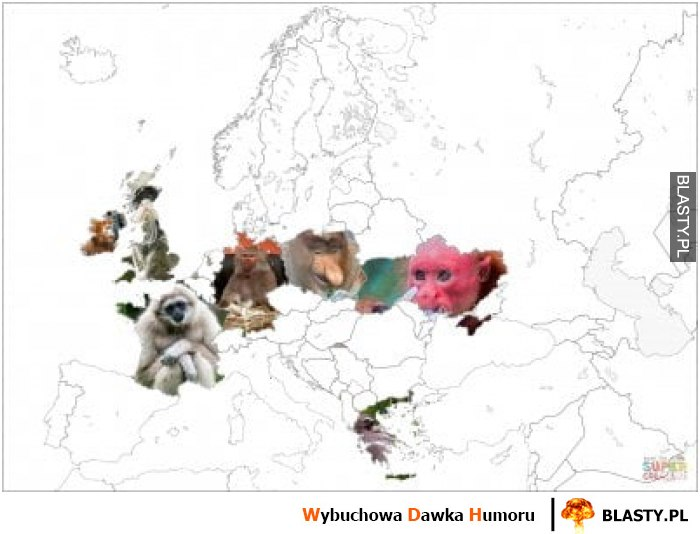 Mapa europy nosacz sundajski i przyjaciele