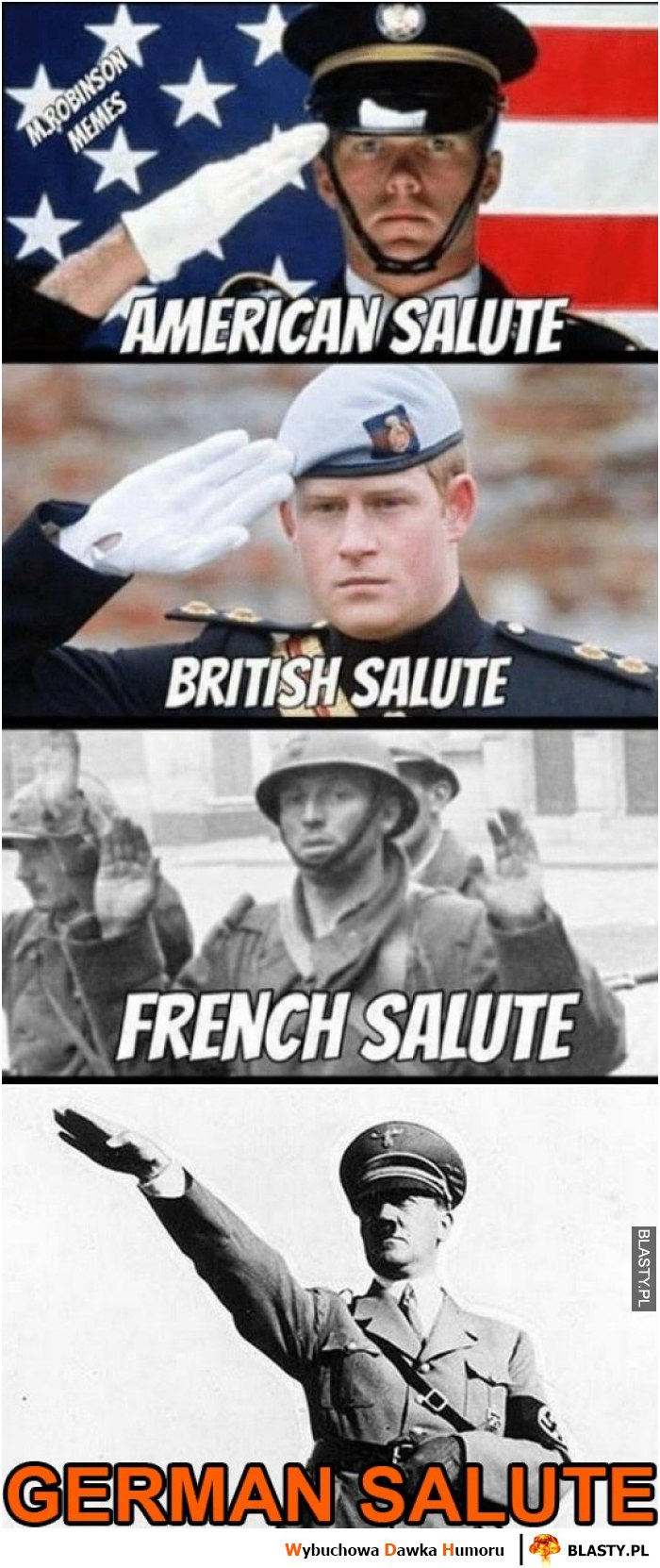 American Salute, british salute, french salute, german salute
