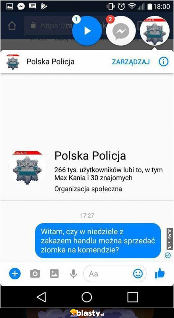 Polska policja - zakaz handlu