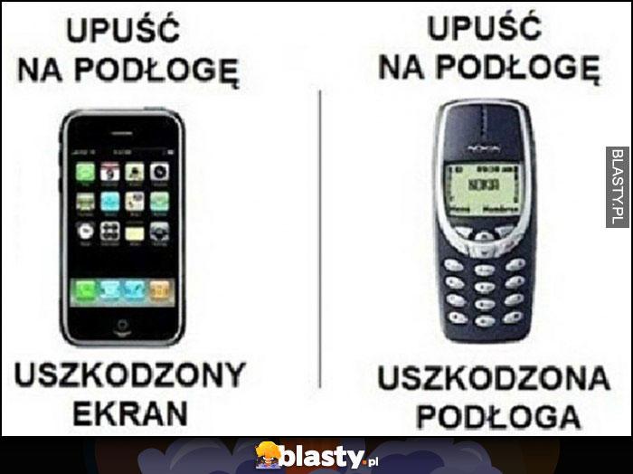 iPhone smartfon upuść na podłogę uszkodzony ekran, stara Nokia upuść na podłogę uszkodzona podłoga