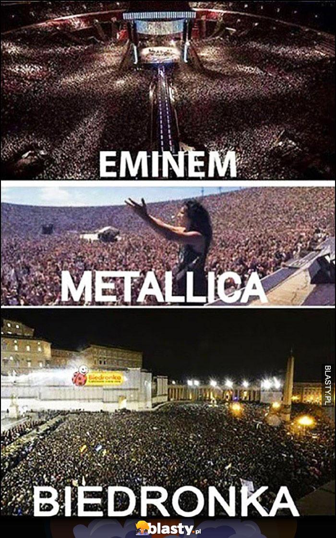 Koncert Eminem, Metallica vs otwarcie Biedronki tłum porównanie