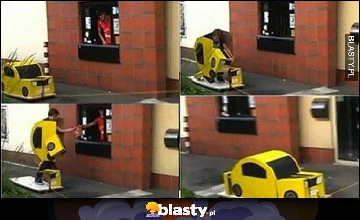 McDrive gość udaje samochód transformers