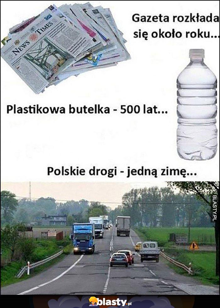 Gazeta rozkłada się rok, plastikowa butelka 500 lat, polskie drogi jedną zimę