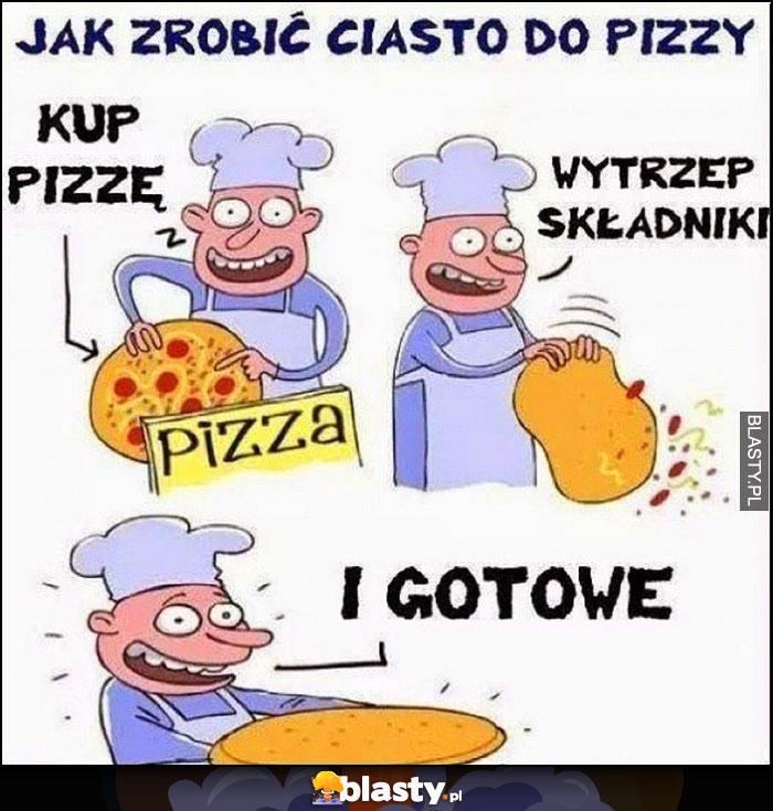 Jak zrobić ciasto do pizzy, kup pizzę, wytrzep składniki i gotowe