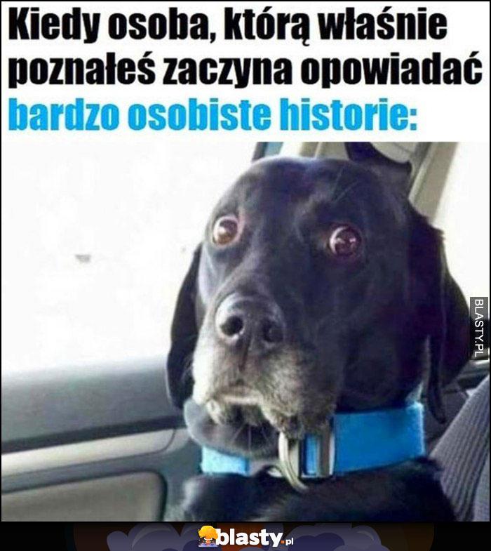 Kiedy osoba, którą właśnie poznałeś zaczyna opowiadać bardzo osobiste historie zdziwiony pies