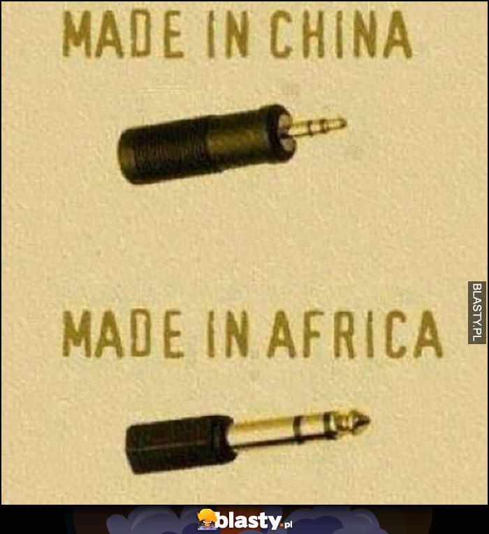 Końcówka jack wtyczka audio made in China mała, made in Africa duża
