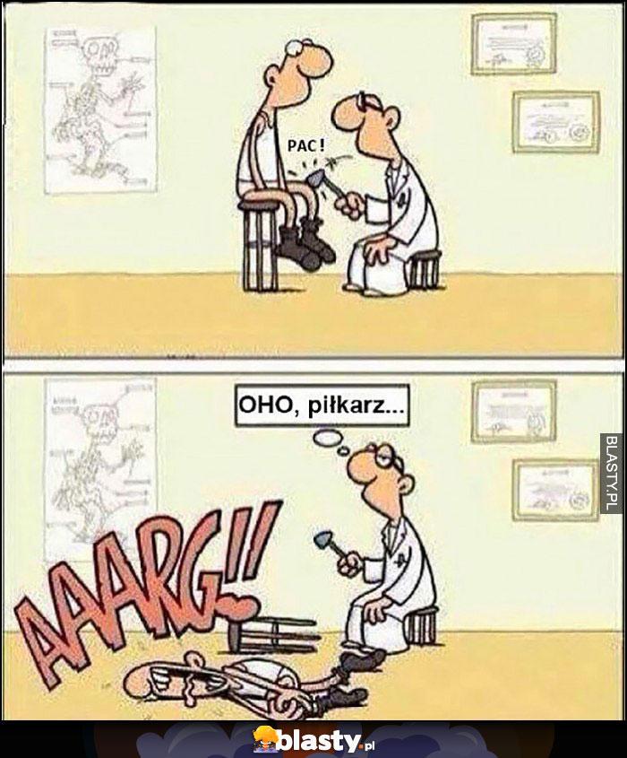 Lekarz uderza w kolano, oho piłkarz symulant komiks