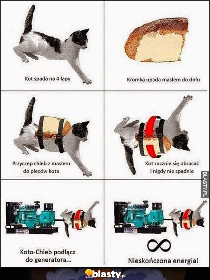 Perpetuum mobile: kot spada na 4 łapy, kromka upada masłem do dołu = nieskończona energia