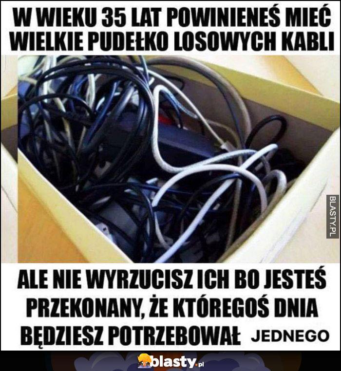 W wieku 35 lat powinieneś mieć wielkie pudełko losowych kabli, nie wyrzucisz ich bo któregoś dnia będziesz potrzebował jednego