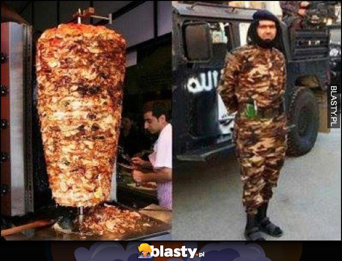 Żołnierz w moro camo wygląda jak kebab