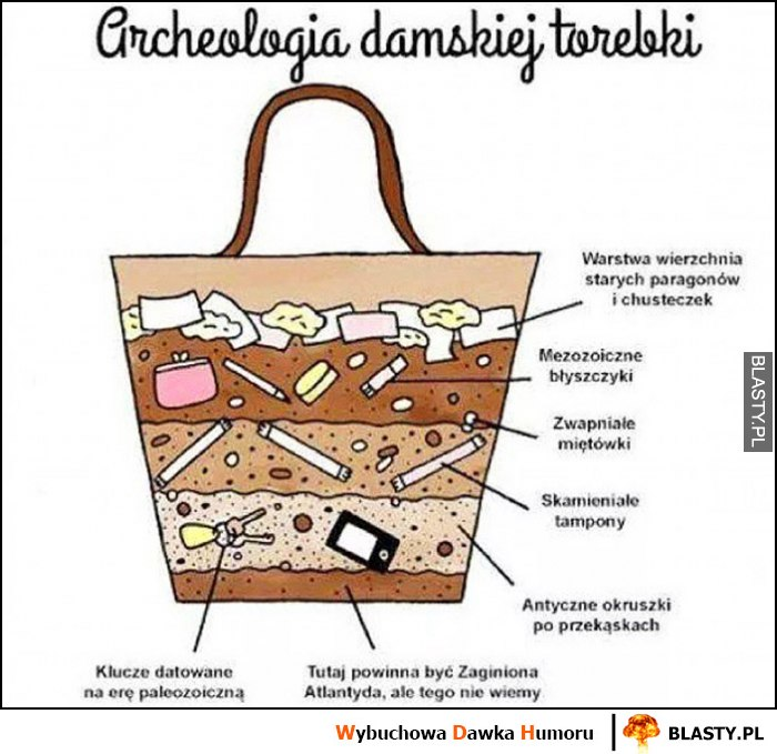 Archeologia damskiej torebki wykres przekrój wykopaliska