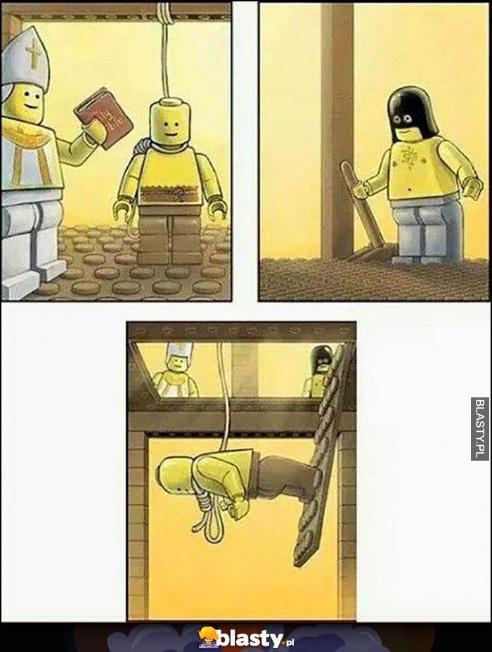 Egzekucja lego przez powieszenie przyczepiony nogami do podstawki