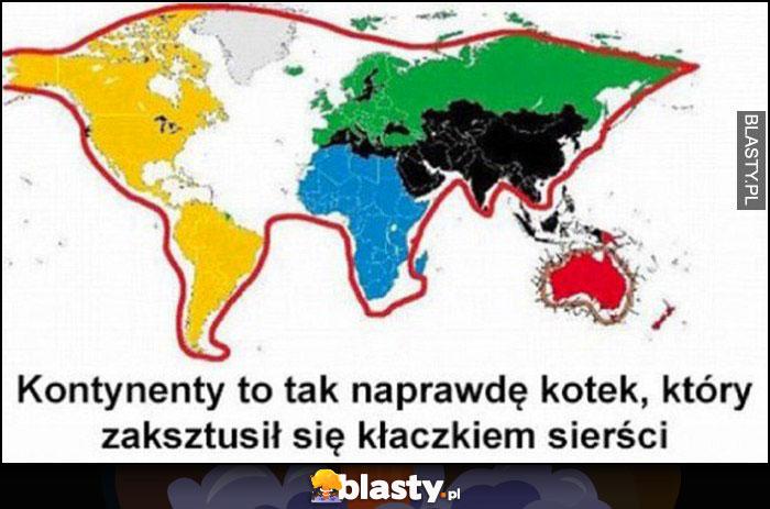 Kontynenty to tak naprawdę kotek, który zaksztusił się kłaczkiem sierści