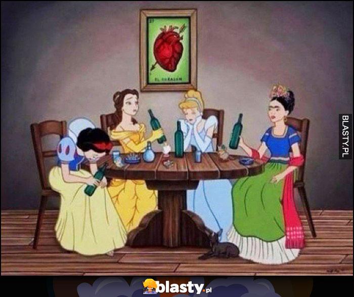 Księżniczki Disneya piją popijawa melanż