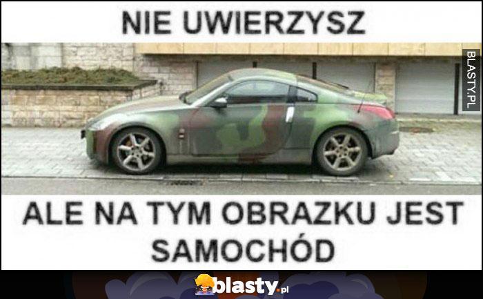 Nie uwierzysz, ale na tym obrazku jest samochód camo kamuflaż moro