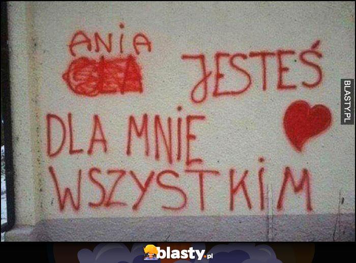Ola Ania jesteś dla mnie wszystkim napis na murze poprawione zmienione imię