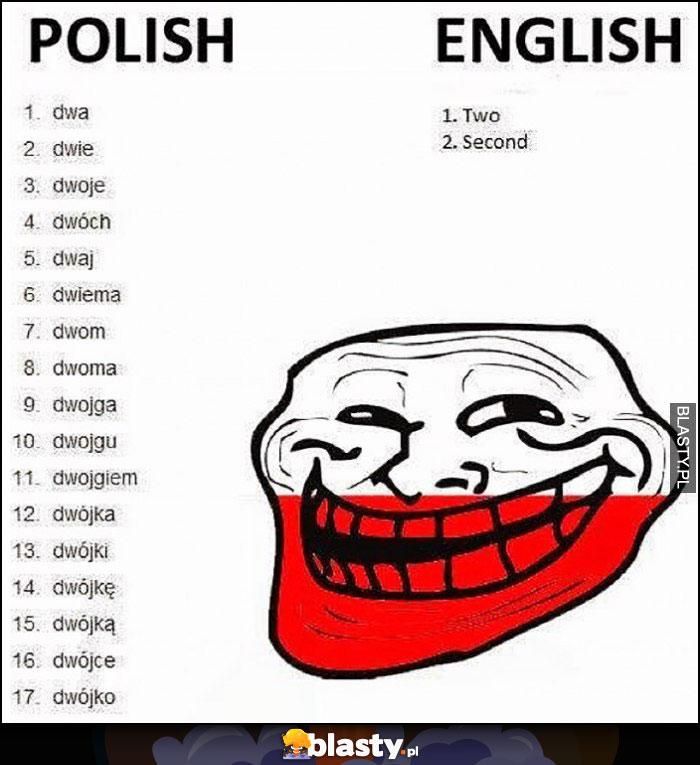 Polski angielski odmiana dwa, dwie, dwoje, two, second