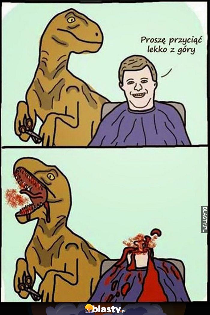 Proszę przyciąć lekko z góry odcięta głowa fryzjer dinozaur t-rex