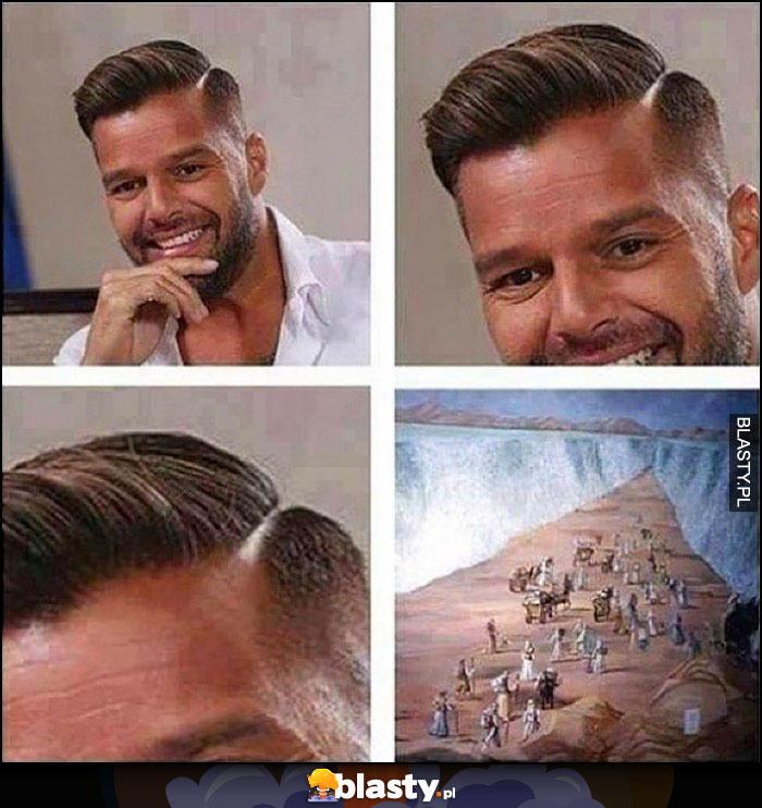 Ricky Martin fryzura włosy przedziałek jak Mojżesz przechodzący przez morze