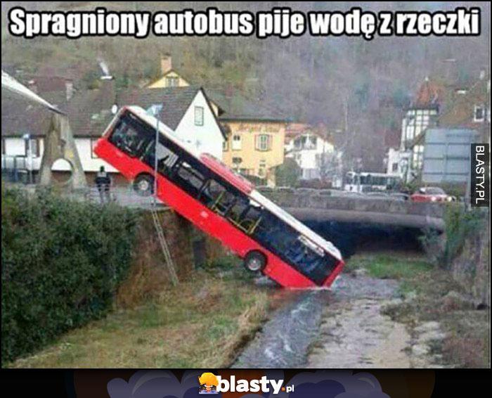 Spragniony autobus pije wodę z rzeczki wypadek