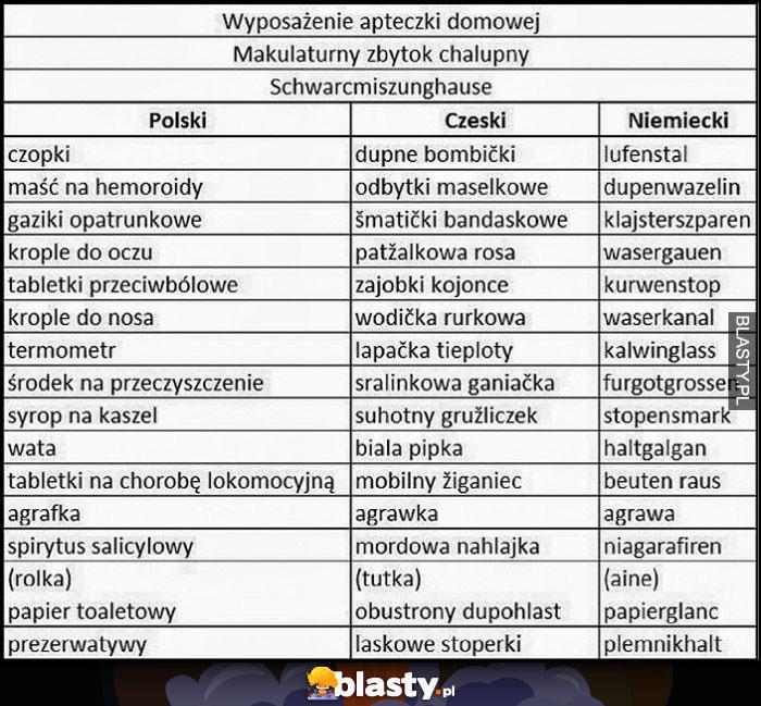 Wyposażenie apteczki domowej tłumaczenie nazw na czeski i niemiecki