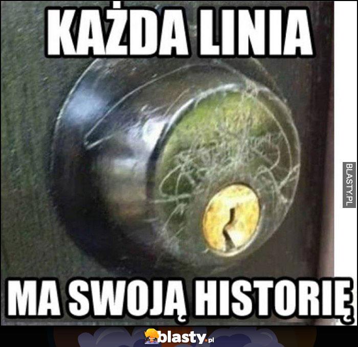Zamek drzwi każda linia ma swoją historię