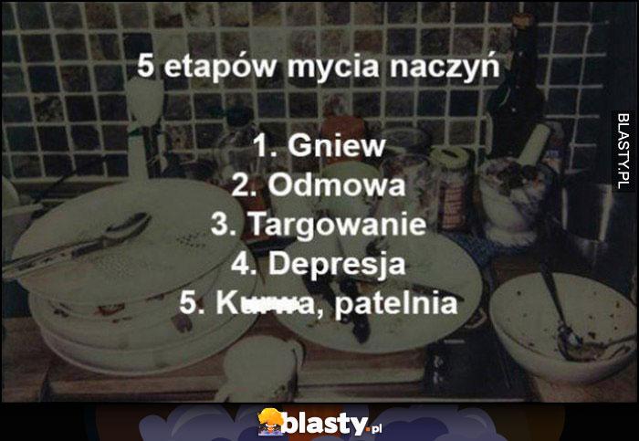 5 etapów mycia naczyń: gniew, odmowa, targowanie, depresja, kurna jeszcze patelnia