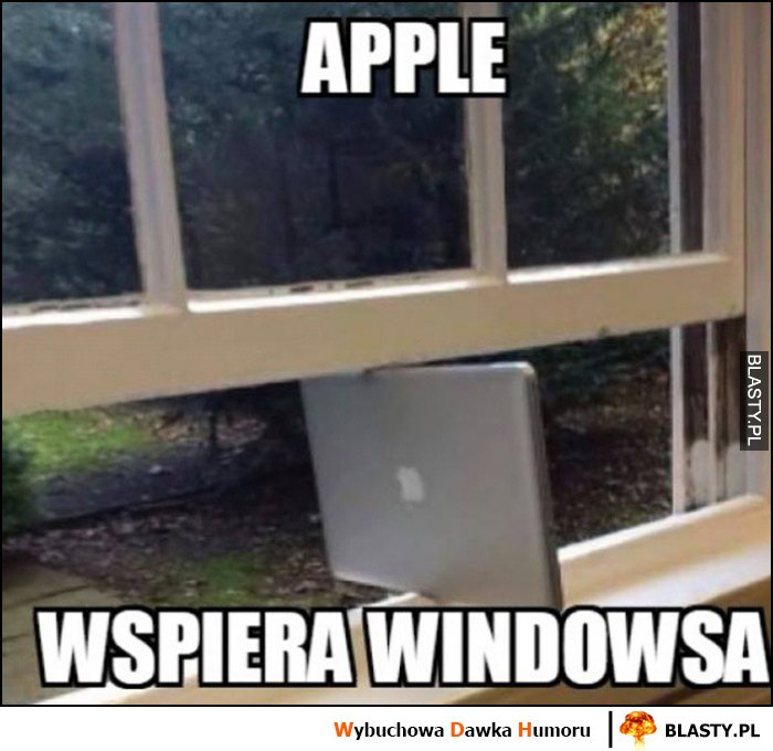 Apple wspiera Windowsa MacBook laptop Apple podpiera okno