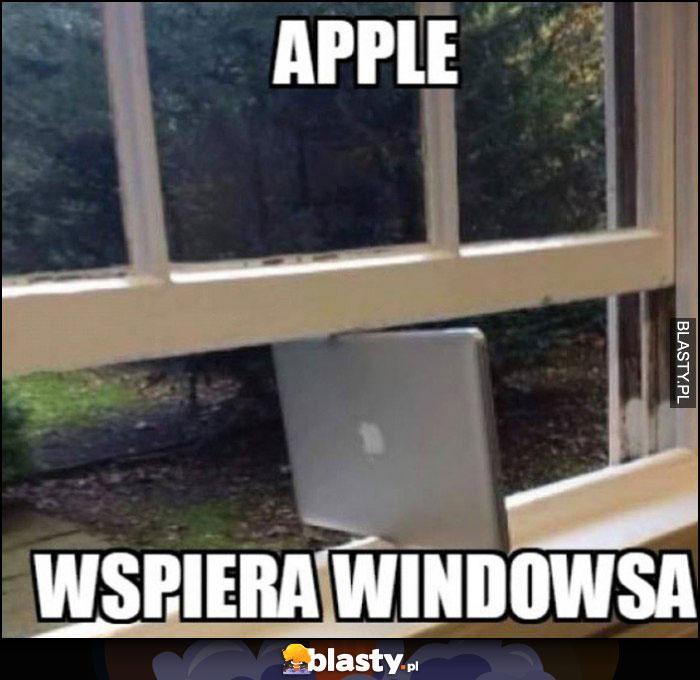 Apple wspiera Windowsa MacBook laptop Apple podpiera okno