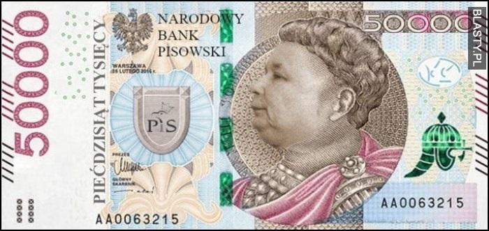 Banknot Kaczyński 50 tysięcy złotych 50000 PLN Narodowy Bank Pisowski przeróbka