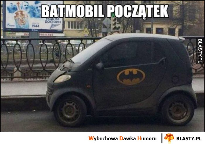 Batmobil początek logo Batmana na samochodzie Smart