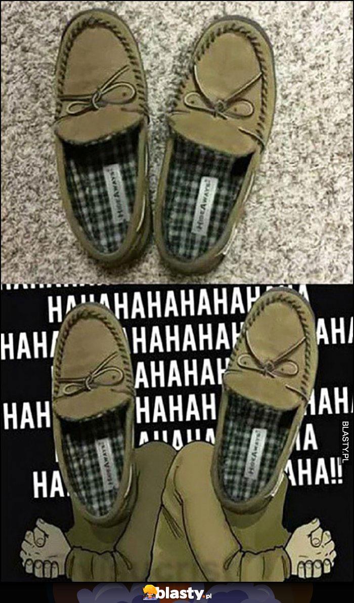 Buty kapcie wyglądające jak śmiejący się Żydzi hahaha