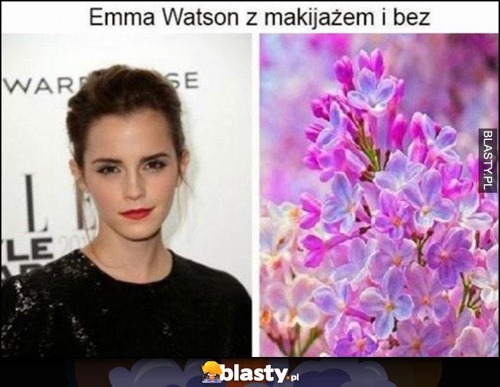 Emma Watson z makijażem i bez kwiat bzu dosłownie