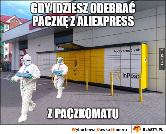Gdy idziesz odebrać paczkę z Aliexpress z paczkomatu strój ochronny przeciw wirusom zakażeniu koronawirus