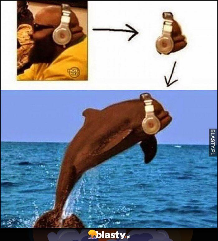 Gruby ziomek słuchawki Beats tył głowy wygląda jak delfin