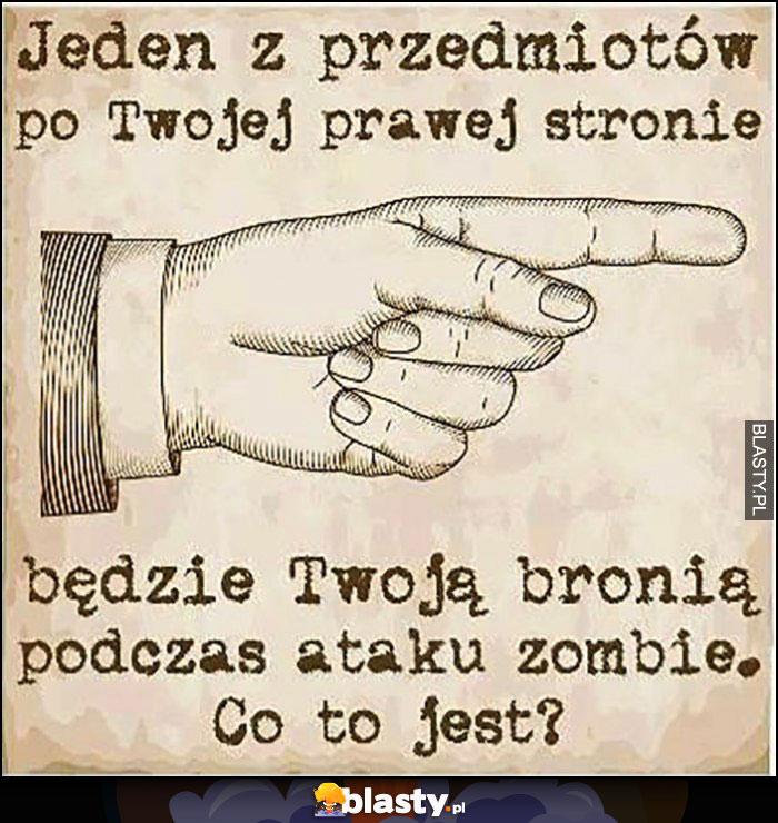 Jeden z przedmiotów po Twojej prawej stronie będzie Twoją bronią podczas ataku zombie, co to jest?