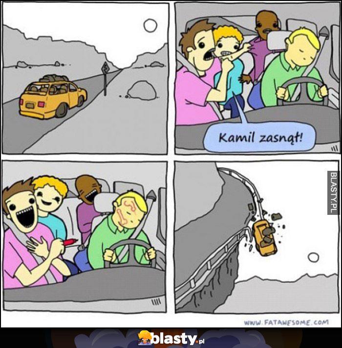 Kierowca Kamil zasnął kumple rysują mu na twarzy auto wypada z drogi spada z urwiska komiks