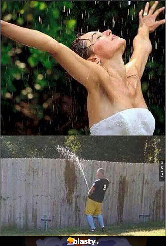 Kobieta cieszy się ciepłym letnim deszczem, a tak naprawdę to facet leje zza płota